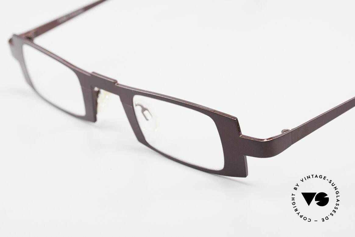 Theo Belgium Michael Eckige Titanium Brille Weinrot, ungetragen (wie alle unsere Damen und Herren Brillen), Passend für Herren und Damen