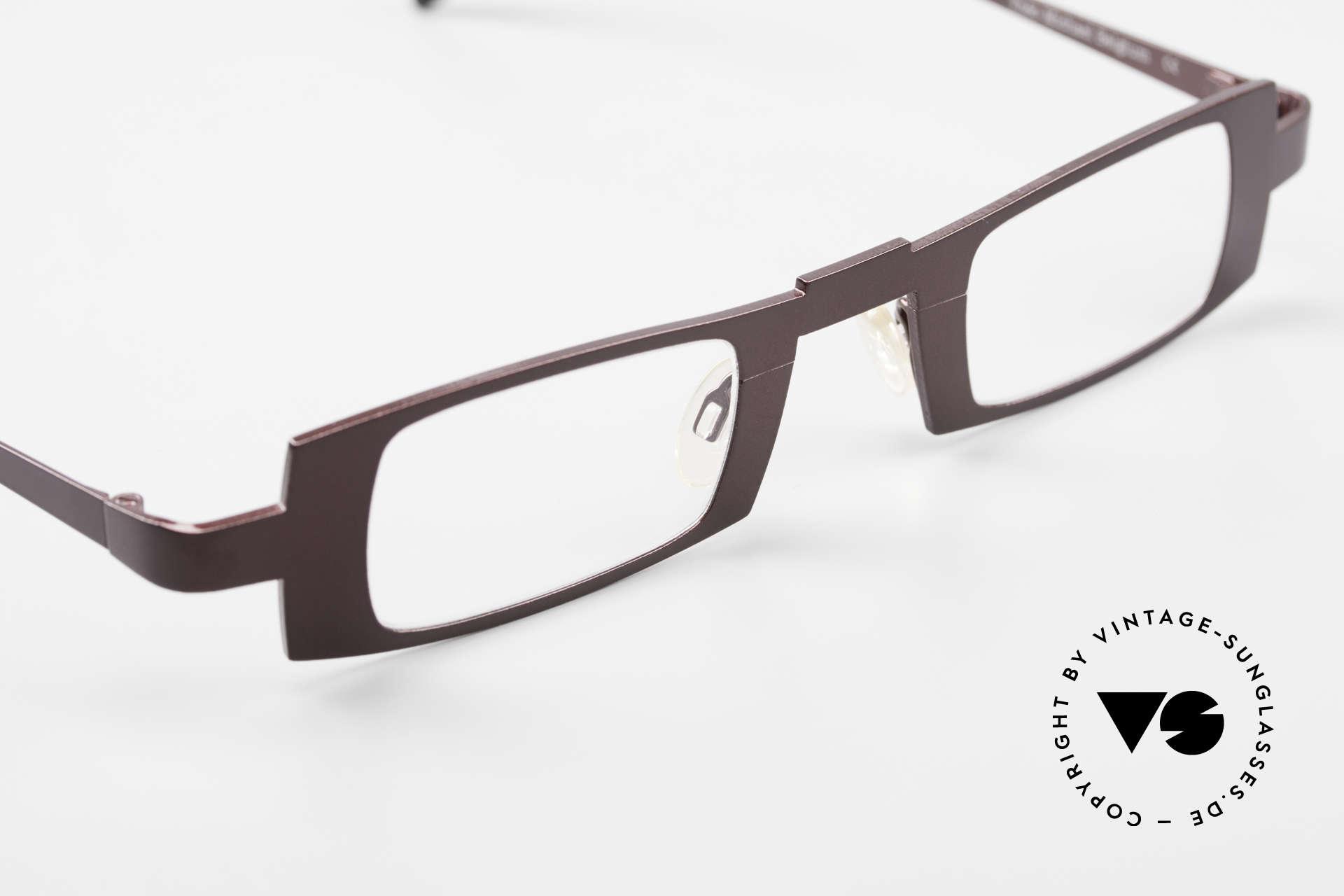 Theo Belgium Michael Eckige Titanium Brille Weinrot, KEINE RETRObrille; ein circa 15 Jahre altes ORIGINAL, Passend für Herren und Damen
