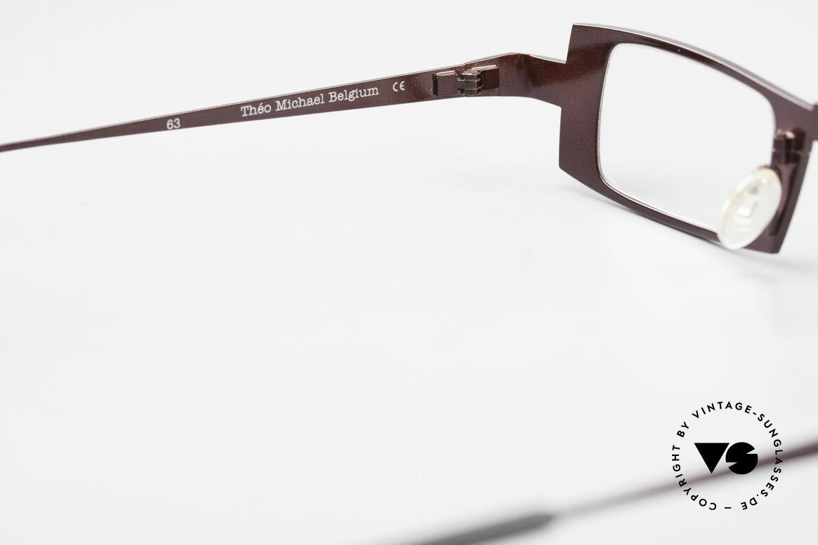 Theo Belgium Michael Eckige Titanium Brille Weinrot, Größe: large, Passend für Herren und Damen