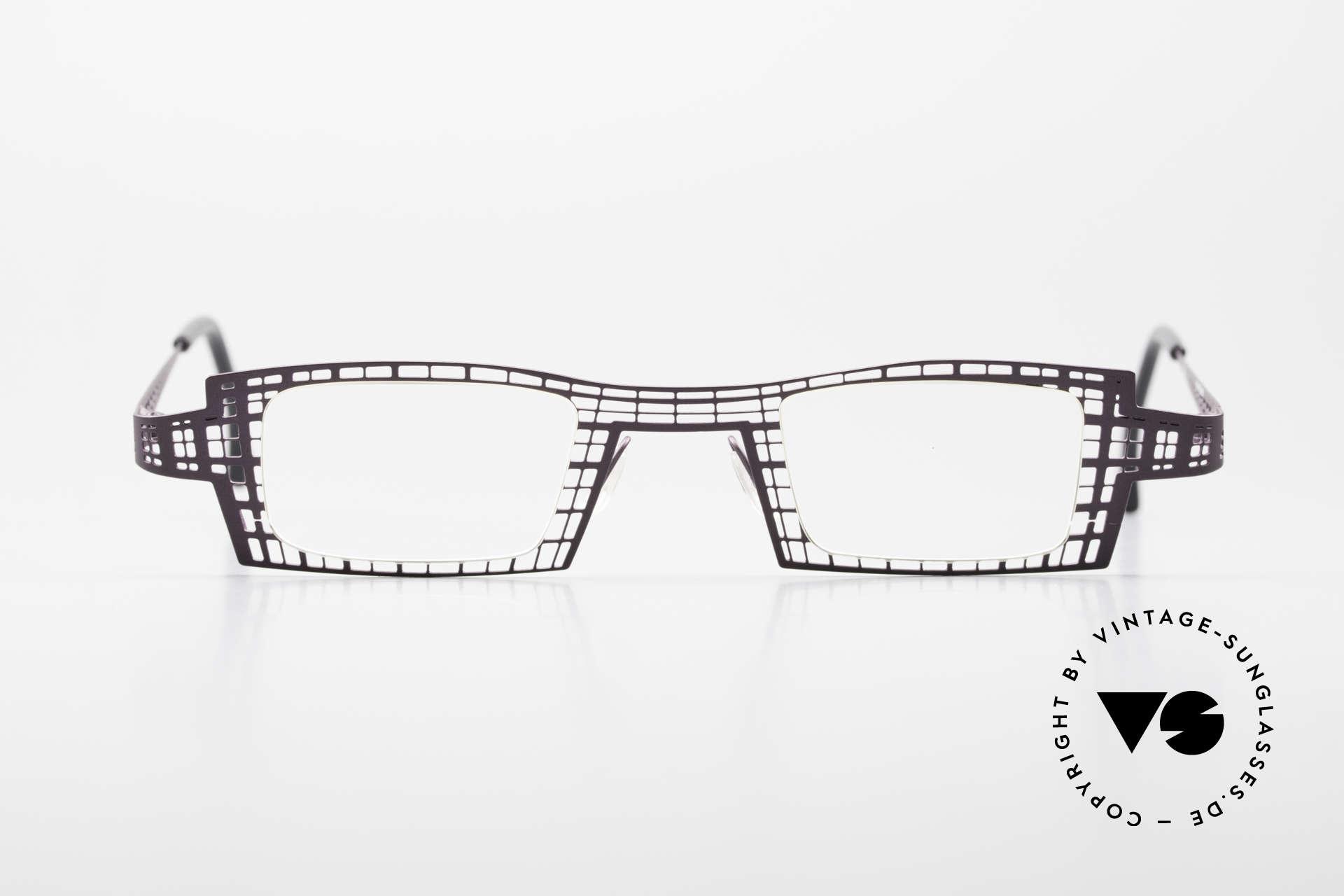 """Theo Belgium Eye-Witness LH Damenbrille Vintage Designer, interessante Designerbrille mit einem """"Gittermuster"""", Passend für Damen"""