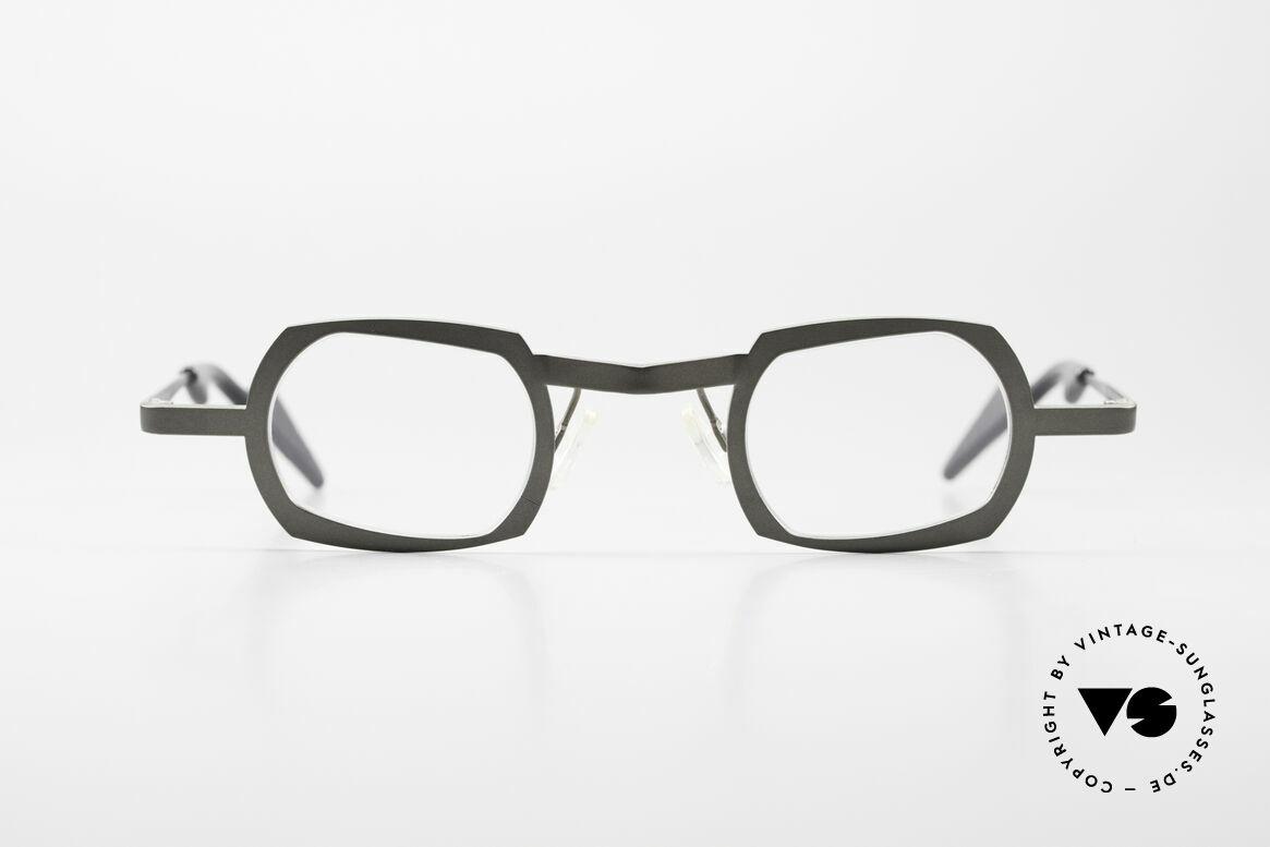 Theo Belgium Palm Beach Damen & Herren Titaniumbrille, sehr markante Designerbrille für alle Individualisten, Passend für Herren und Damen
