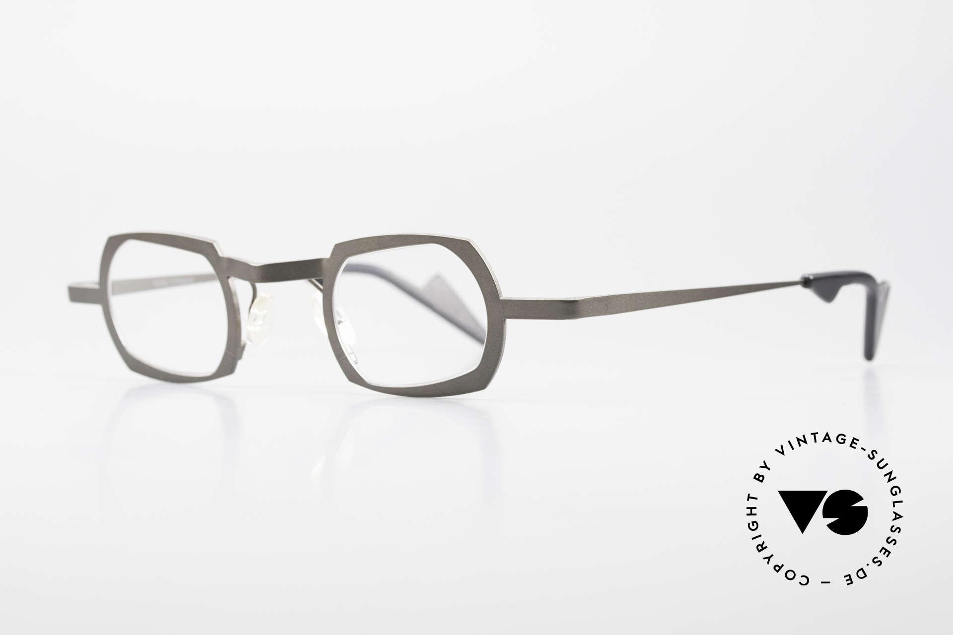Theo Belgium Palm Beach Damen & Herren Titaniumbrille, erstklassige Qualität (Titanium) in einem Dunkelgrau, Passend für Herren und Damen