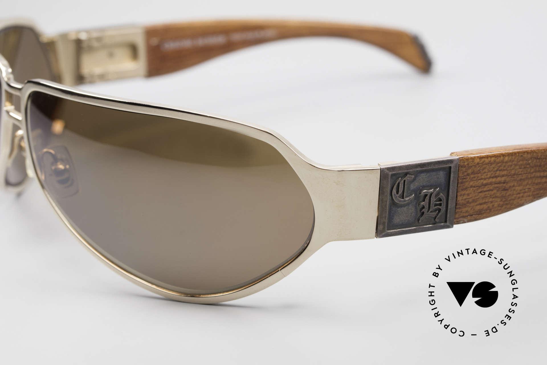 Chrome Hearts Shaft Luxus Herrenbrille Für Kenner, Federscharniere, vergoldet und mit Holzbügeln, Passend für Herren