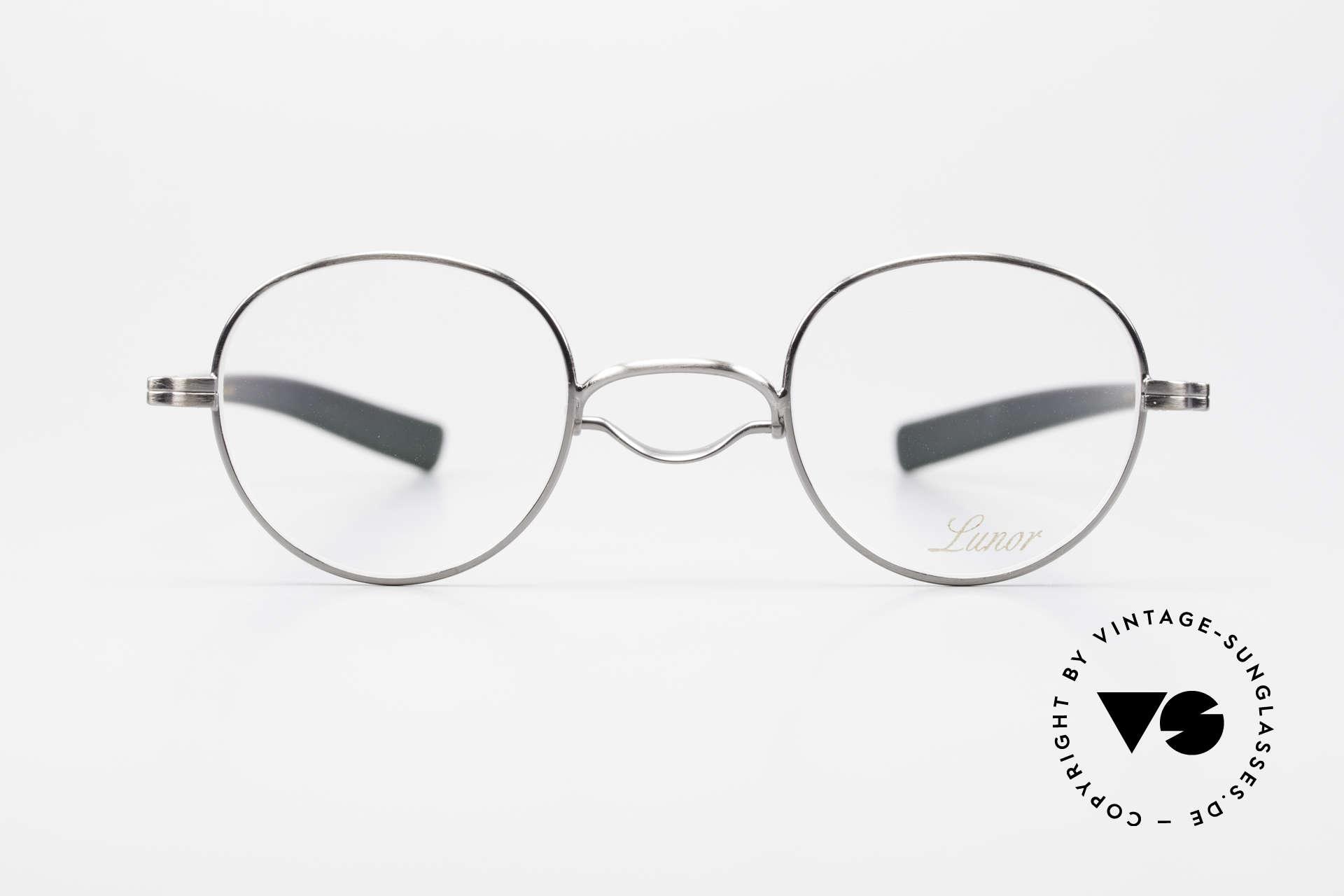 Lunor Swing A 32 Panto Rare Vintage Lunor Brille AS, Größe 41-25, AS = ANTIK SILBER, mit Swing-Steg, Passend für Herren und Damen