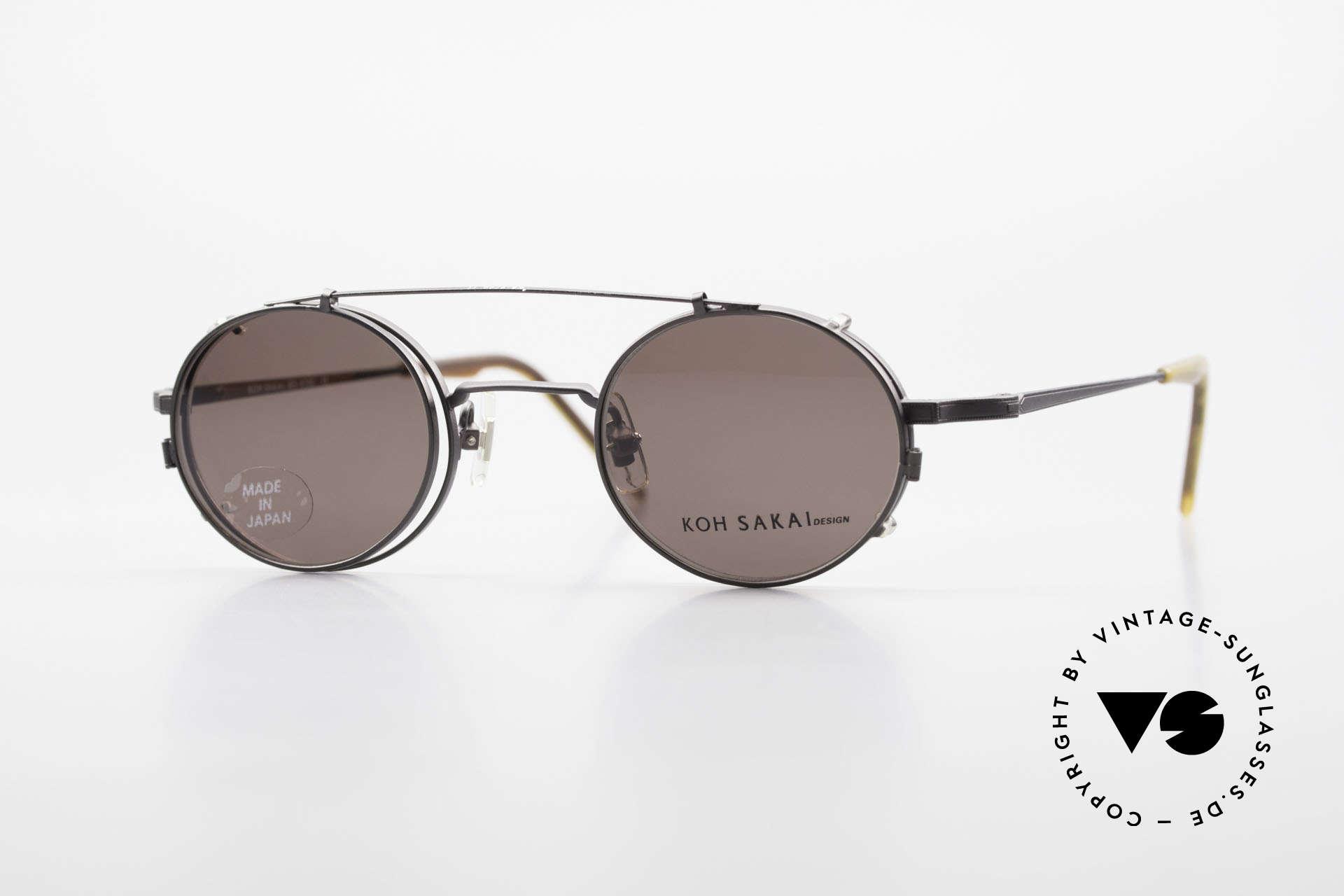 Koh Sakai KS9700 Runde Brille mit Sonnen-Clip, kleine, runde vintage Brille von Koh Sakai, Mod. 9700, Passend für Herren und Damen