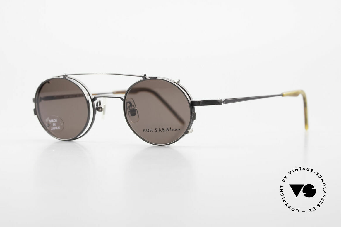 Koh Sakai KS9700 Runde Brille mit Sonnen-Clip, 1997 in Los Angeles designed & in Sabae (JP) produziert, Passend für Herren und Damen