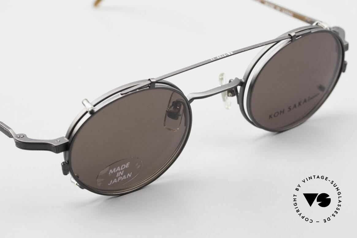 Koh Sakai KS9700 Runde Brille mit Sonnen-Clip, gesamte Fassung mit aufwändigen kleinen Gravuren!, Passend für Herren und Damen