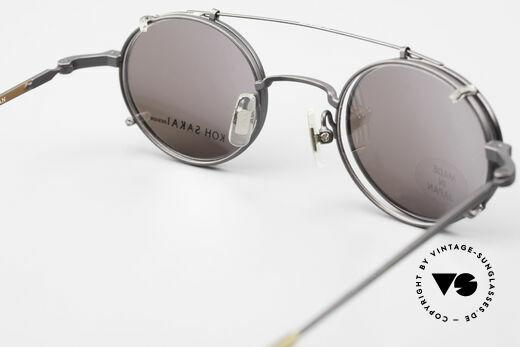 Koh Sakai KS9700 Runde Brille mit Sonnen-Clip, ungetragen (wie alle unsere vintage Clip-On Brillen), Passend für Herren und Damen