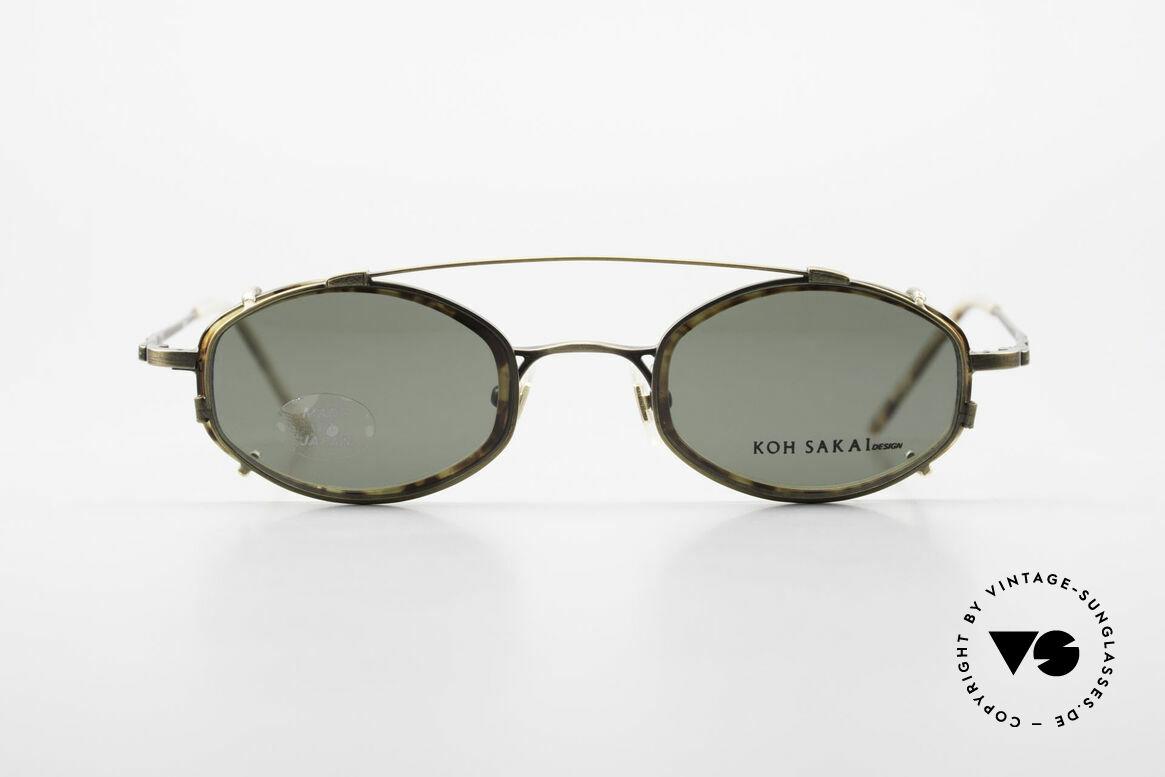 Koh Sakai KS9836 Titanium Brille mit Sonnen-Clip, Größe 45-21 mit praktischem Sonnen-Clip / Vorhänger, Passend für Herren und Damen