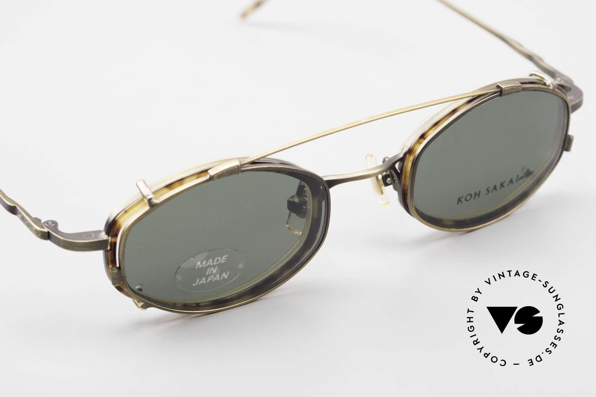 Koh Sakai KS9836 Titanium Brille mit Sonnen-Clip, gesamte Fassung mit aufwändigen kleinen Gravuren!, Passend für Herren und Damen