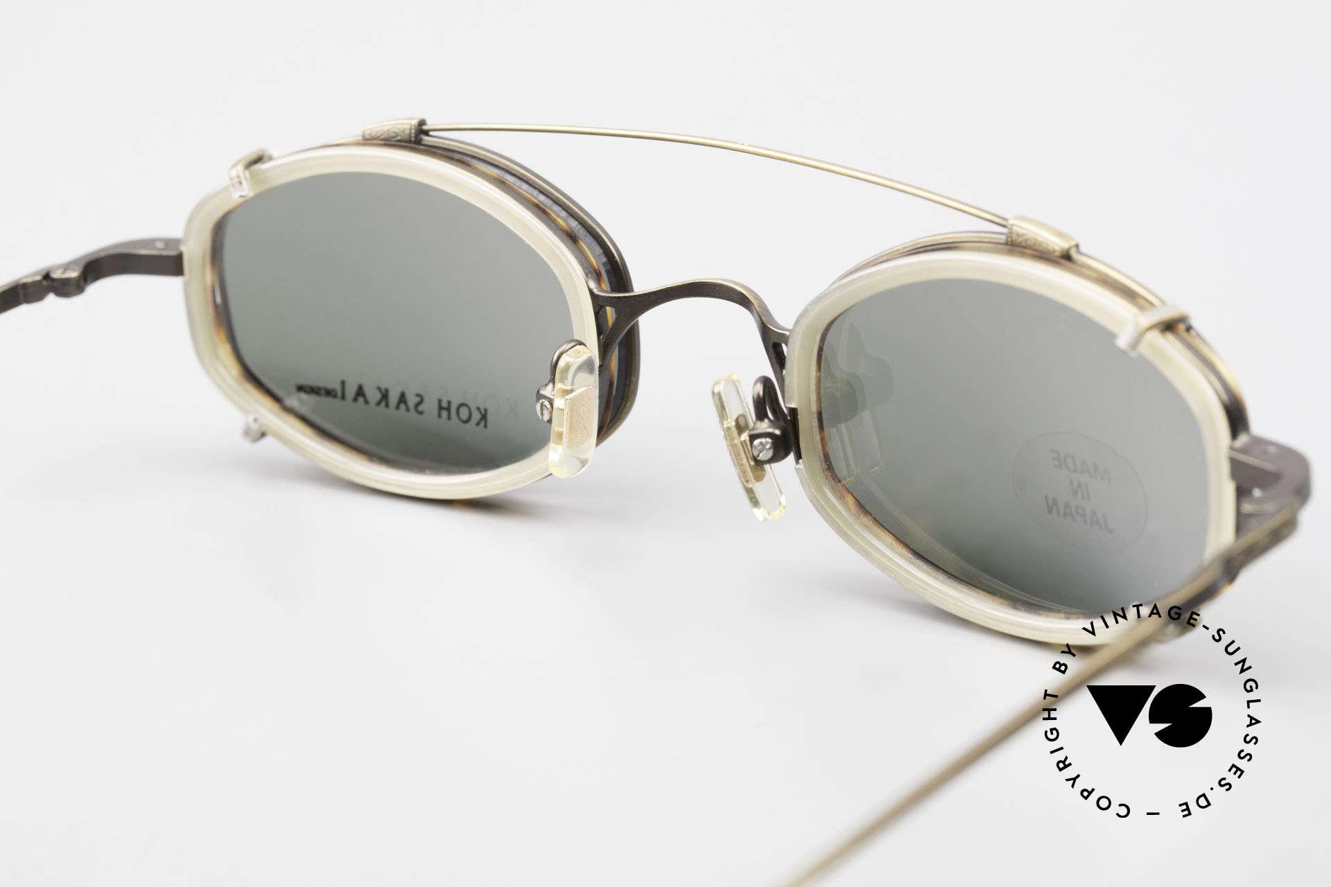 Koh Sakai KS9836 Titanium Brille mit Sonnen-Clip, ungetragen (wie alle unsere vintage Clip-On Brillen), Passend für Herren und Damen