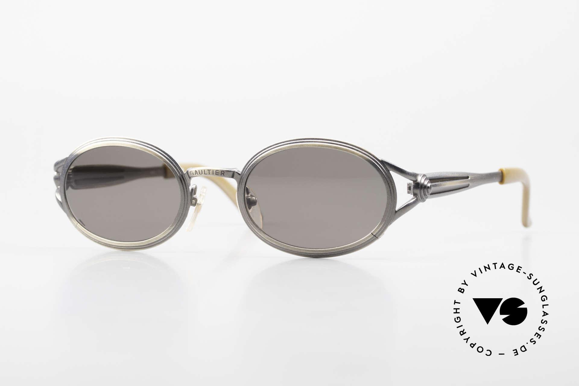 Jean Paul Gaultier 56-7114 Ovale Steampunk Sonnenbrille, vintage Gaultier Sonnenbrille aus den frühen 90ern, Passend für Herren und Damen