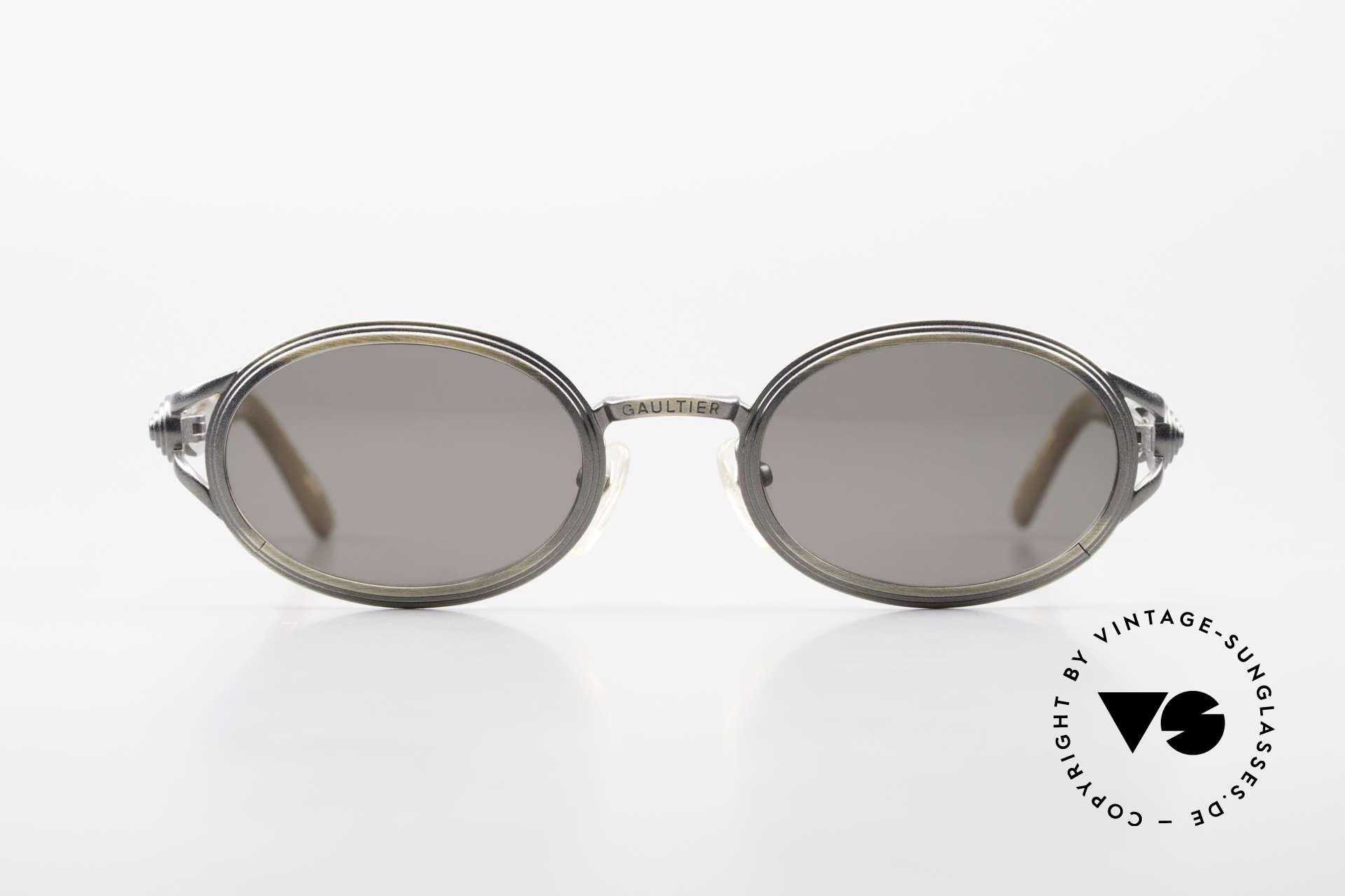 Jean Paul Gaultier 56-7114 Ovale Steampunk Sonnenbrille, wird gerne als 'Steampunk-Sonnenbrille' bezeichnet, Passend für Herren und Damen