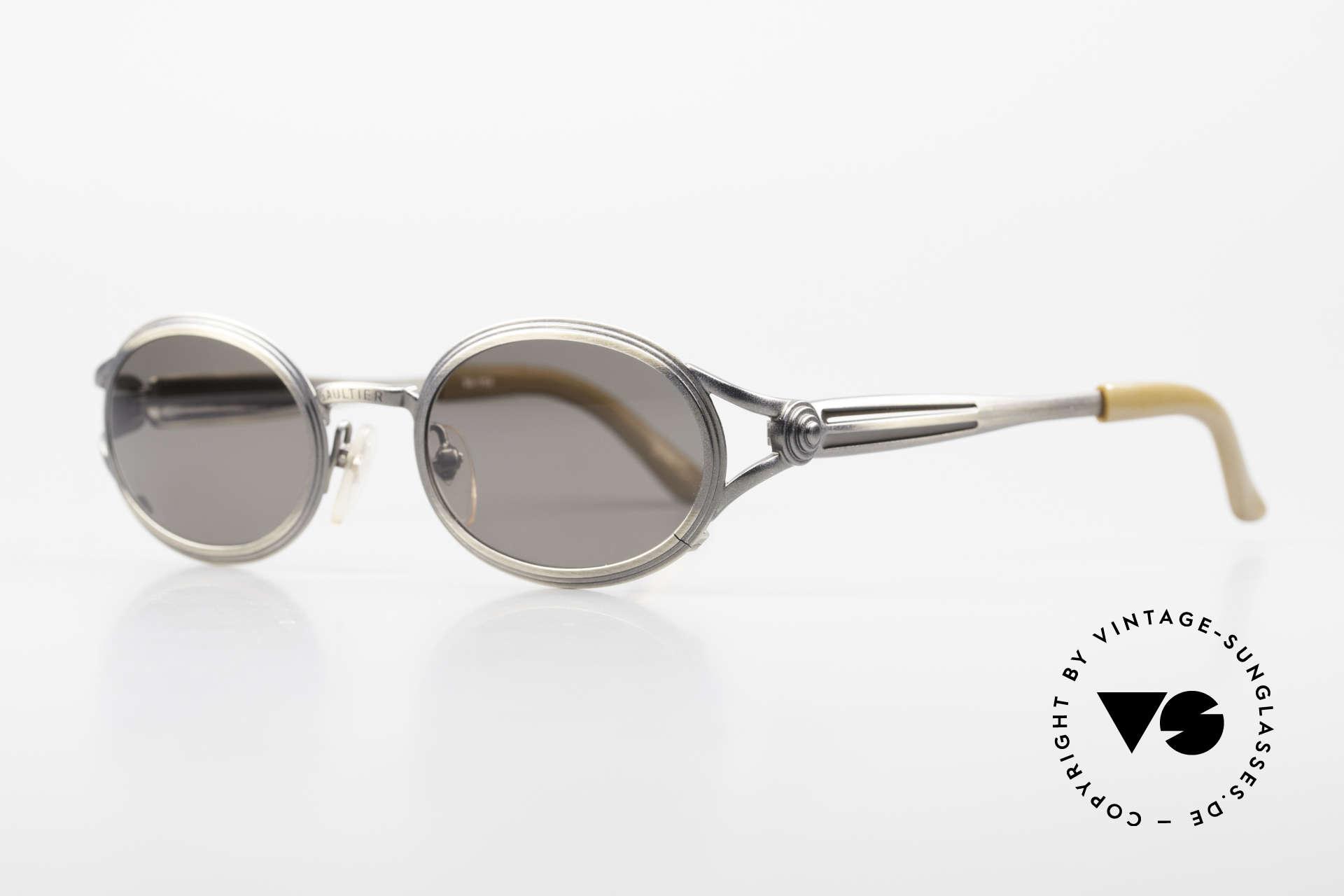 Jean Paul Gaultier 56-7114 Ovale Steampunk Sonnenbrille, ungetragene Rarität für Kunst- und Mode-Liebhaber, Passend für Herren und Damen